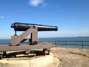 A cannon stands guard atop a bastion at Fort Gaines.